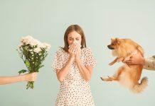 Frau mit Heuschnupfen und Tierhaarallergie, Pflanzen, Blumenstrauss, Hund