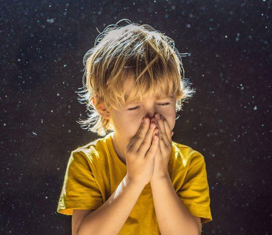 Hausstauballergie Kind niest